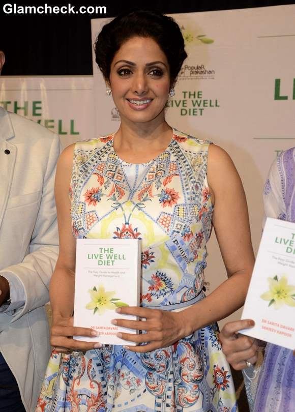 Sridevi Launches The Live Well Diet in Flowery Ensemble