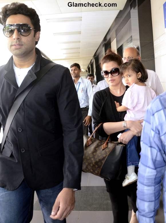 Aishwarya Rai Bachchan at Mumbai Airport with Aradhya and Abhisekh