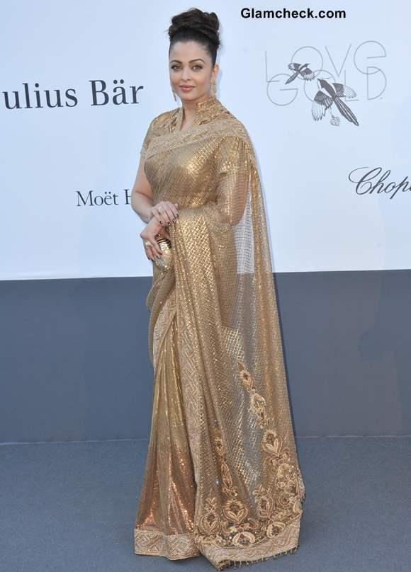 Aishwarya Rai Gold Sari at French Film Gala 2013