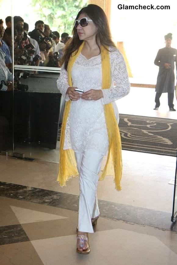 Alka Yagnik at Condolence Meet for Priyanka Chopras Father