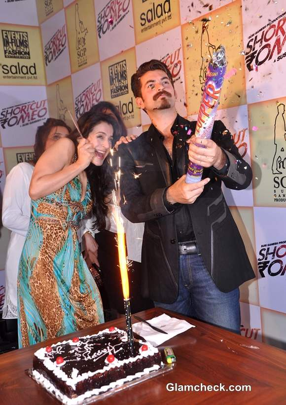 Ameesha Patel  37th Birthday with Cast Crew of Shortcut Romeo
