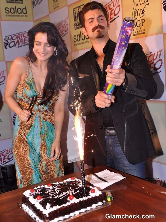 """Ameesha Patel Rings in 37th Bday with Cast & Crew of """"Shortcut Romeo"""""""