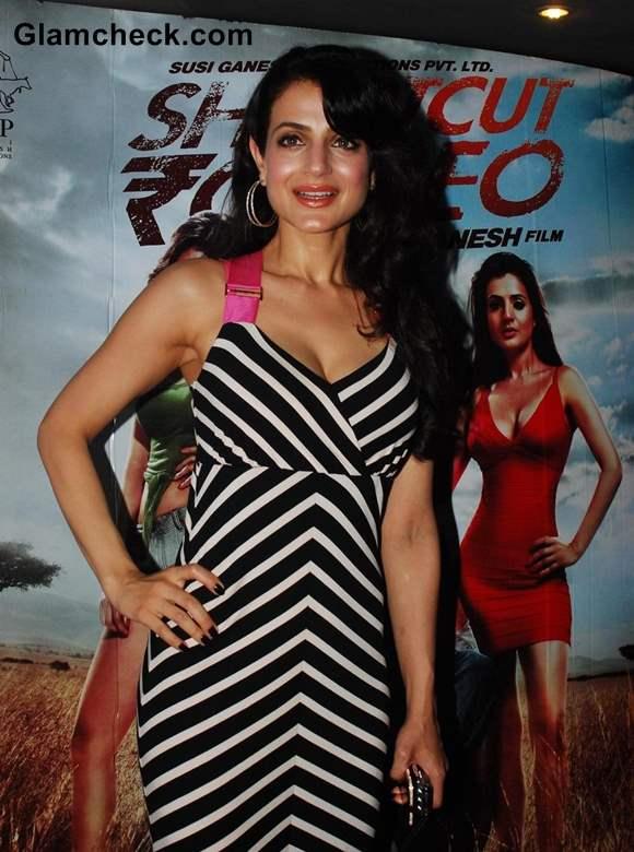Ameesha Patel in White Black Stripes 2013