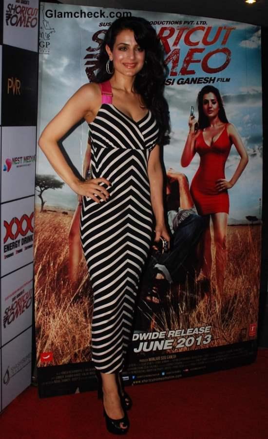Ameesha Patel in White Black Stripes at Shortcut Romeo Screening