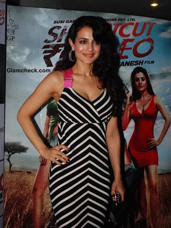 Ameesha Patel in White Black maxi dress at Shortcut Romeo Screening
