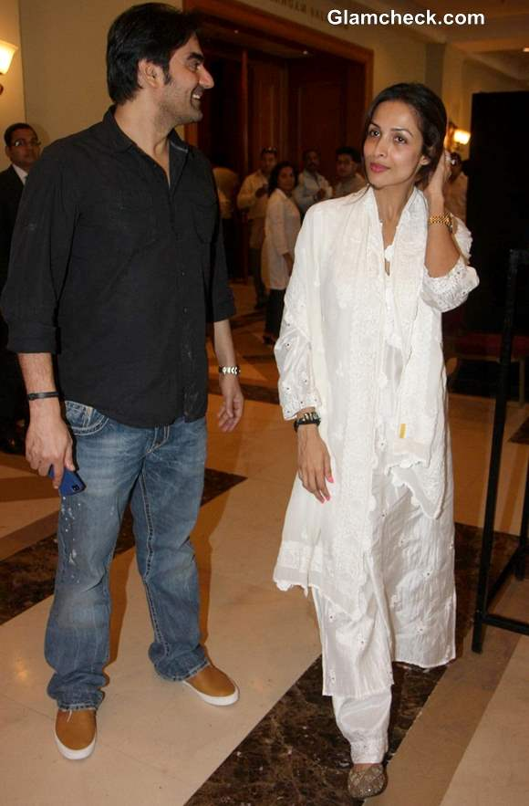 Arbaaz Khan with Malaika Arora at Condolence Meet for Priyanka Chopras Father