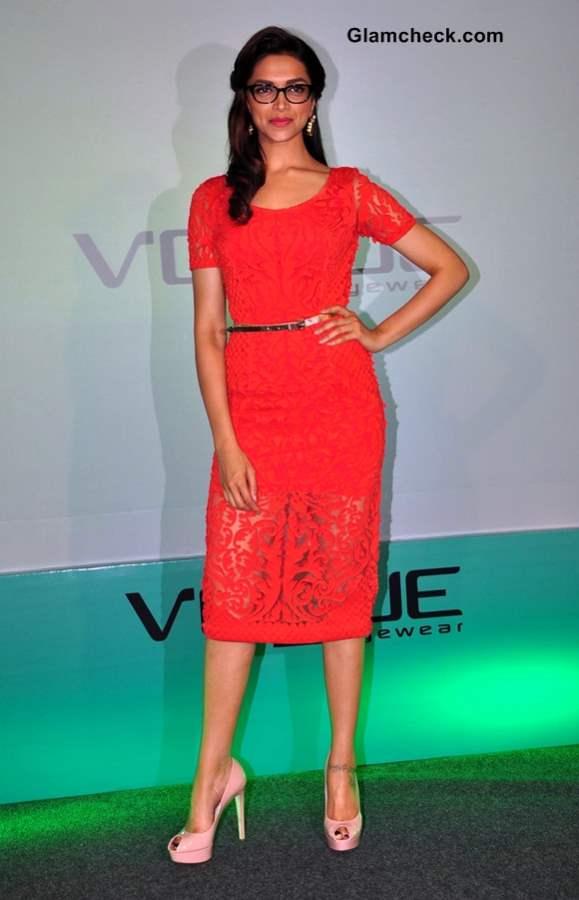 Deepika Padukone in red lace dress 2013
