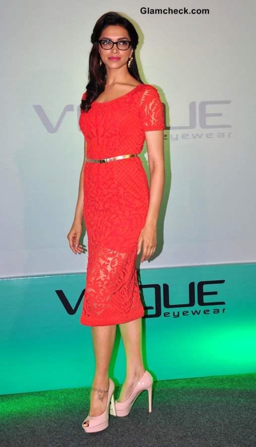 Deepika Padukone in red lace dress at New Vogue Eyewear unveiling  in Mumbai