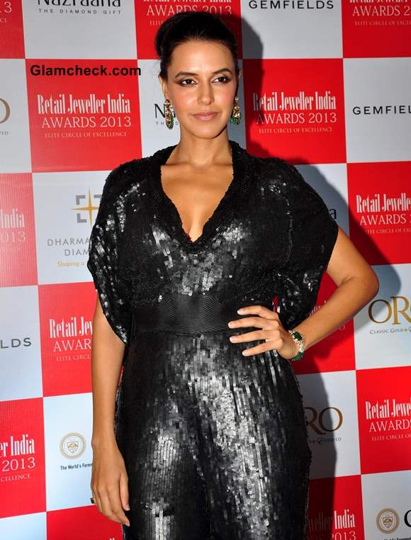 Neha Dhupia in Sequinned Jumpsuit 2013
