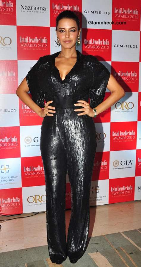 Neha Dhupia in Sequinned Jumpsuit