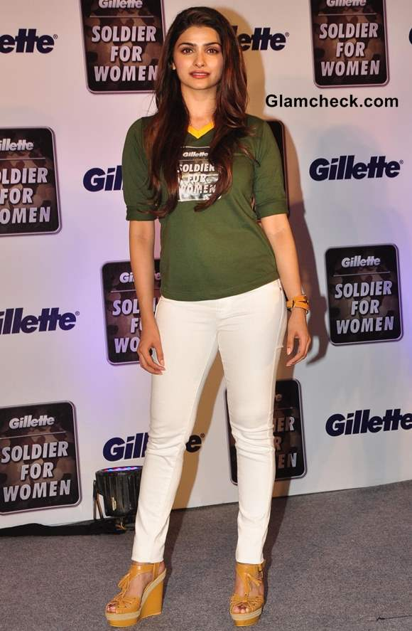 Prachi Desai 2013 White Pants Casual Green Tee