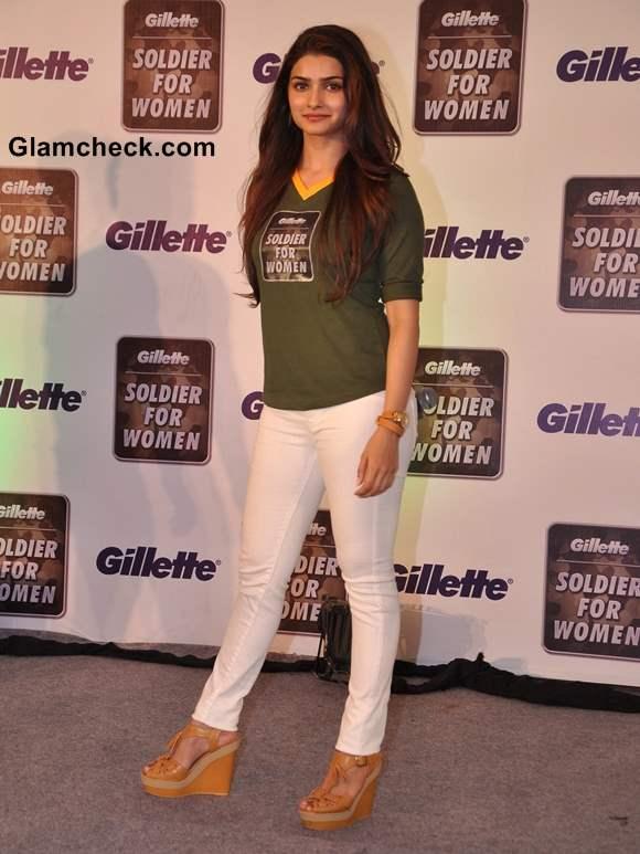 Prachi Desai Sports White Pants Casual Green Tee