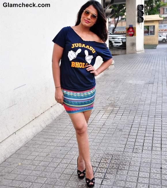 Richa Chhadha 2013 in Mini Skirt at Fukrey Song Launch