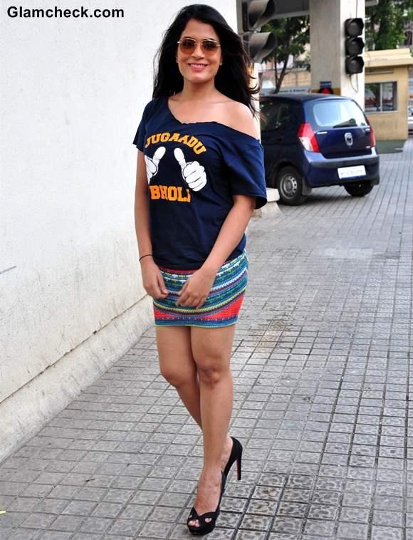 Richa Chhadha in Mini Skirt at Fukrey Song Launch