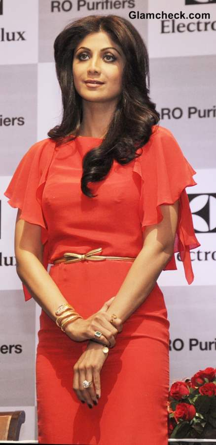 Shilpa Shetty in Coral Red Dress 2013