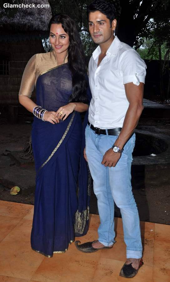 Sonakshi SInha in blue sari at TV show Uttaran