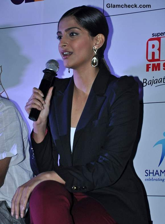 Sonam Kapoor 2013 Wearing Blazer Cropped Pants