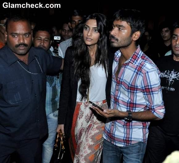 Sonam Kapoor Dhanush Surprise Fans at Chandan Cinema in Mumbai