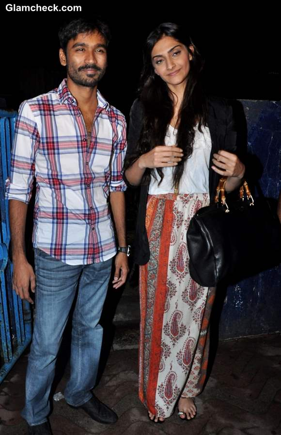 Sonam Kapoor Dhanush at Chandan Cinema in Mumbai