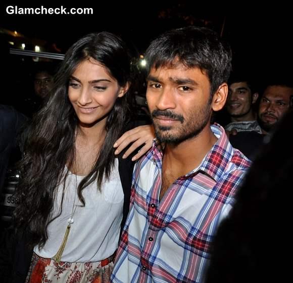 Sonam Kapoor Dhanush meet Fans at Chandan Cinema in Mumbai