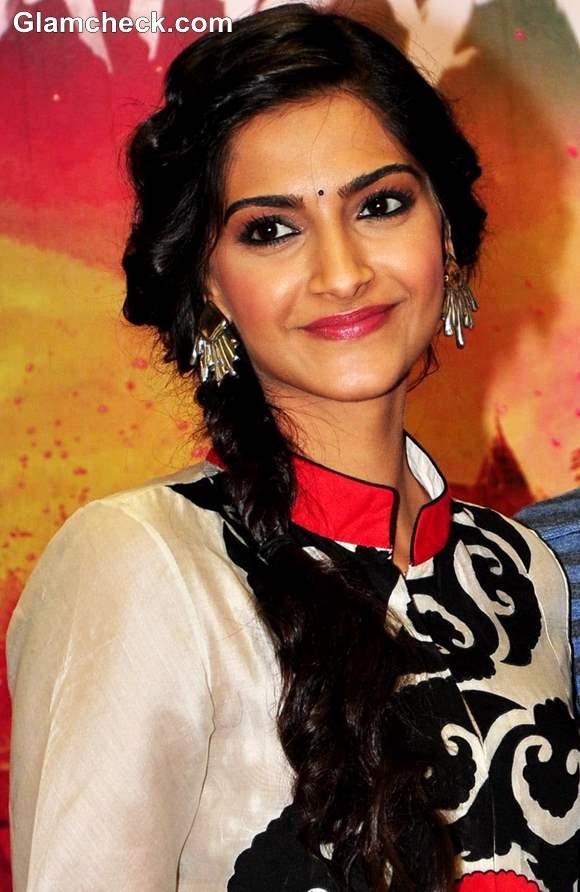 Sonam Kapoor side braid hairstyle 2013