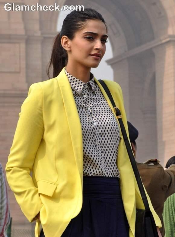 Sonam Kapoor style 2013 Wearing Blazer Cropped Pants