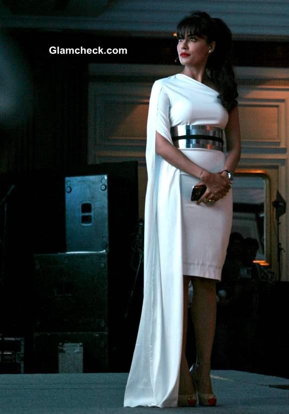 Chitrangada Singh White Dress at Micromax Canvas 4 Launch