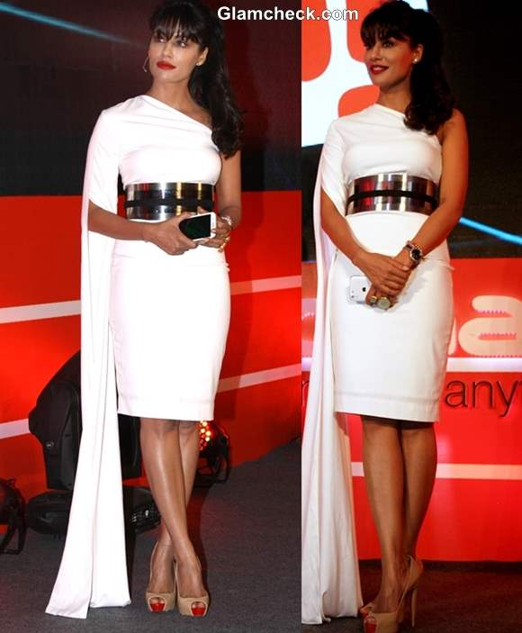Chitrangada Singh in Nikhil Thampi White Dress at Micromax Canvas 4 Launch