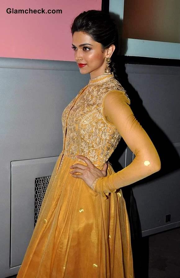 Deepika Padukone in Golden anarkali suit on Madhubala Ek Ishq Ek Junoon