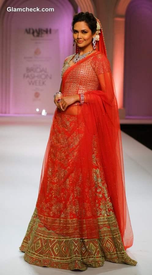 Esha Gupta Showstopper at India Bridal Fashion Week 2013 Adarsh Gill