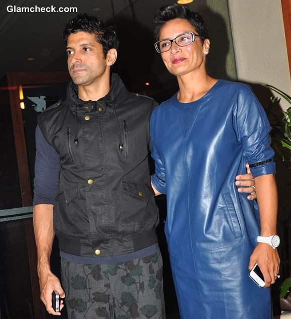 Farhan Akhtar with wife Adhuna at Bhaag Milkha Bhaag success party