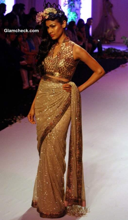 India Bridal Fashion Week 2013 Falguni Shane Peacock golden saree
