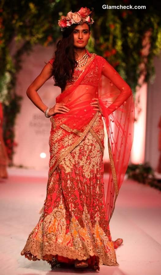 India Bridal Fashion Week 2013 Falguni Shane Peacock saree