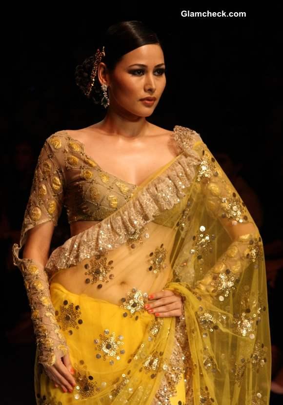 India Bridal Fashion Week 2013 Rina Dhaka Ruffled Saree