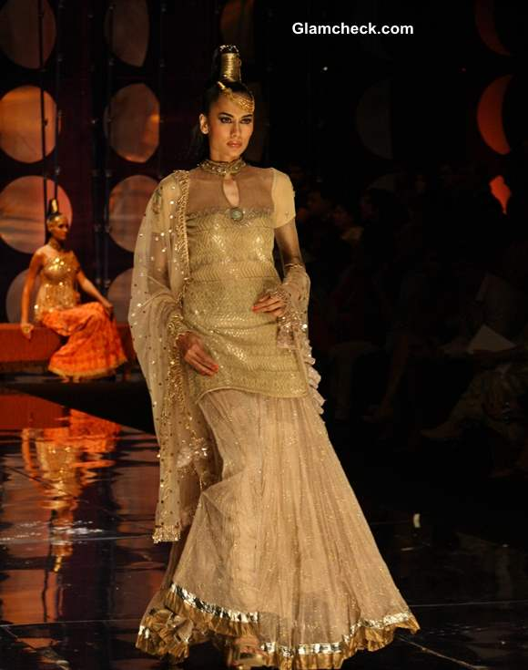 India Bridal Fashion Week 2013 Rina Dhaka Ruffled Lehenga