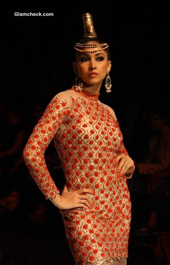 India Bridal Fashion Week 2013 Rina Dhaka sheer blouses trend