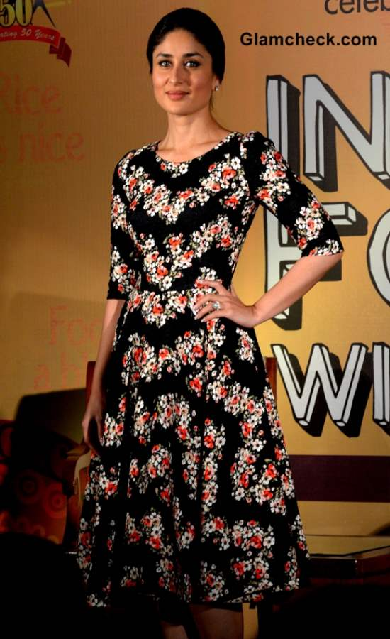 Kareena Kapoor in black floral print dress 2013 at Indian Food Wisdom DVD Launch