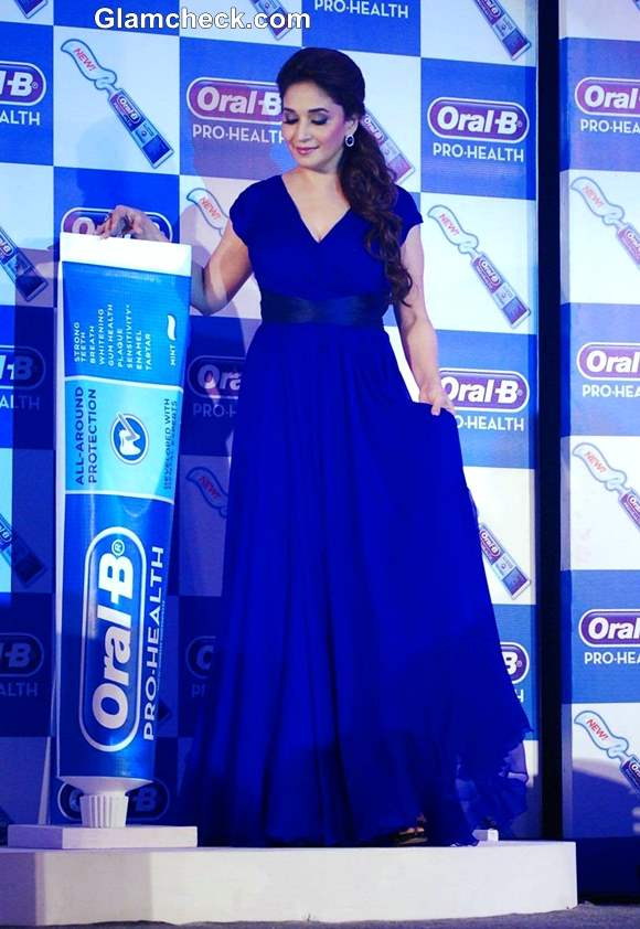 Madhuri Dixit in blue maxi dress at  Oral-B new Pro Health toothpaste launch