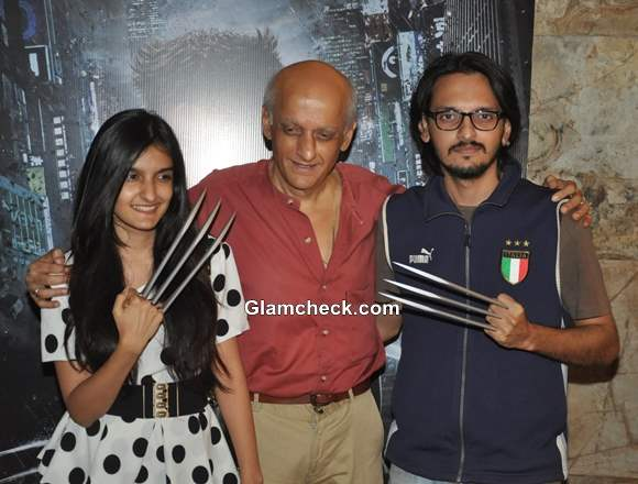 Mukesh Bhatt with son and daughter at Special Screening of The Wolverine