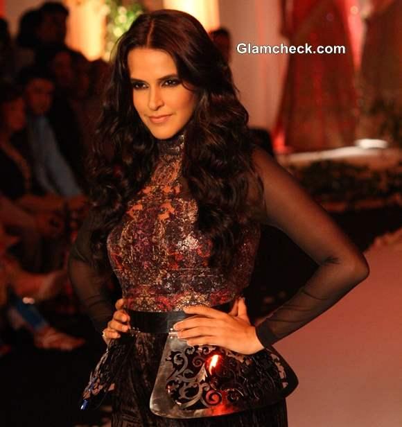 Neha Dhupia India Bridal Fashion Week 2013 Falguni Shane Peacock
