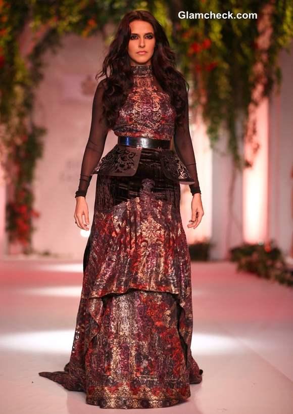 Neha Dhupia Showstopper at India Bridal Fashion Week 2013 Falguni and Shane Peacock