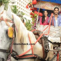 Prateik Babbar and Amyra Dastoor Promote Isaaq in Mumbai on a bagghi