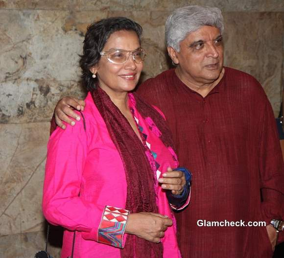 Shabana Azmi and Javed Akhtarat Special Screening of Underworld Thriller D-Day