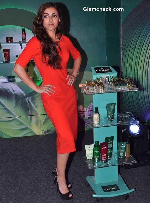 Soha Ali Khan in red  Zara dress at Rene Furterer Launch