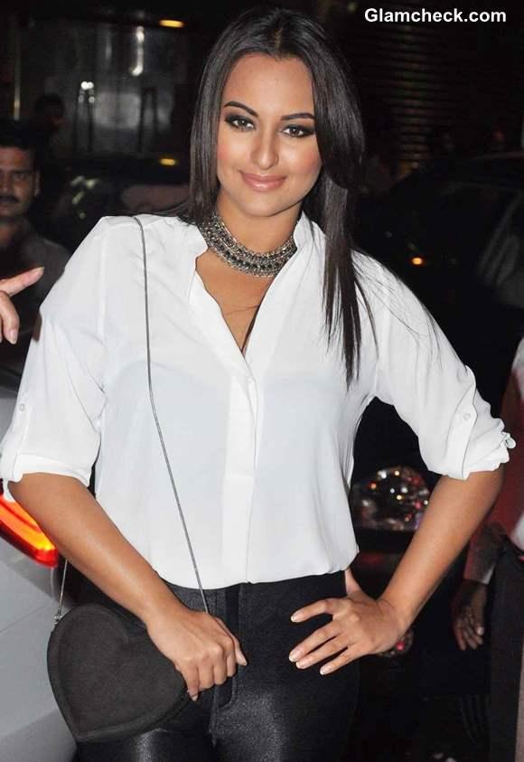 Sonakshi Sinha 2013 white shirt