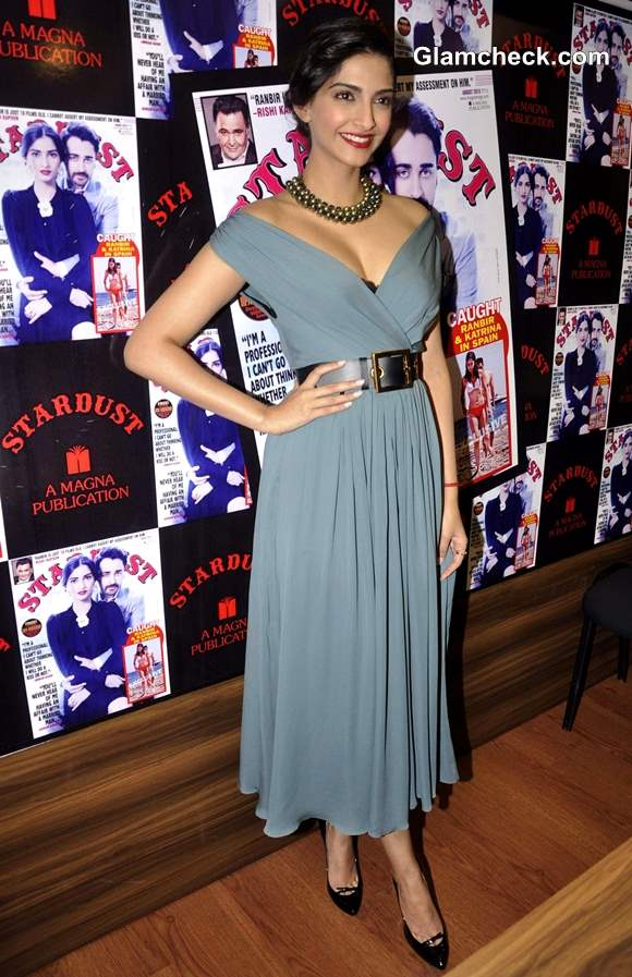 Sonam Kapoor Vintage Chic in Gucci Dress at Stardust Cover Launch