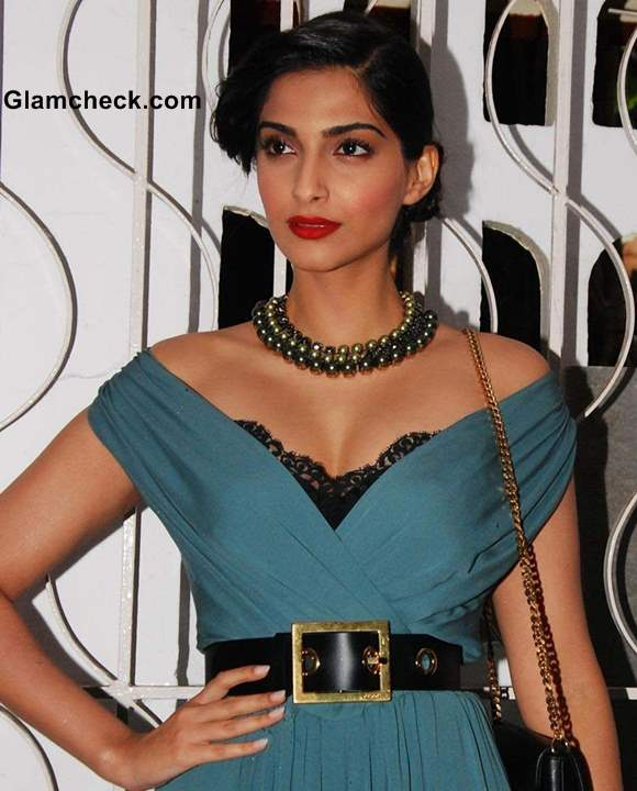 Sonam Kapoor in Gucci Dress at Stardust Cover Launch