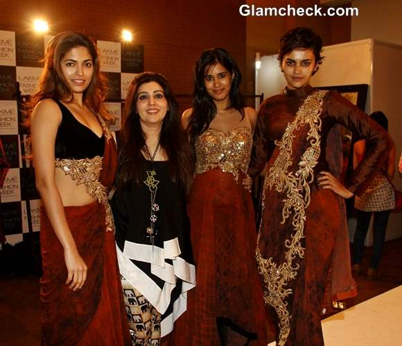 Archana Kochchar with models in her creations at Lakme Lakme Fashion Week Winter - Festive 2013