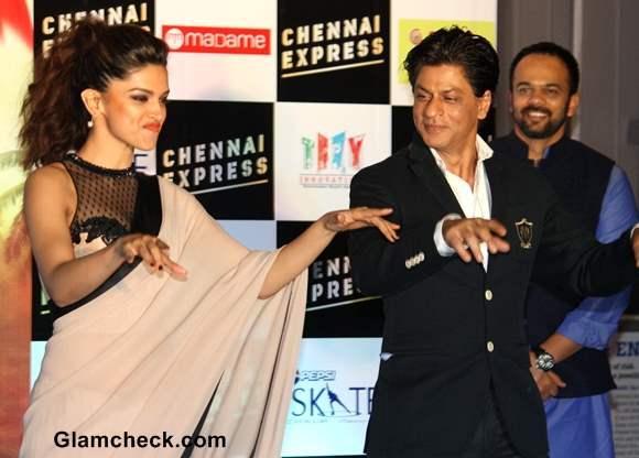 Deepika Padukone Beige Sari at Chennai Express Promo