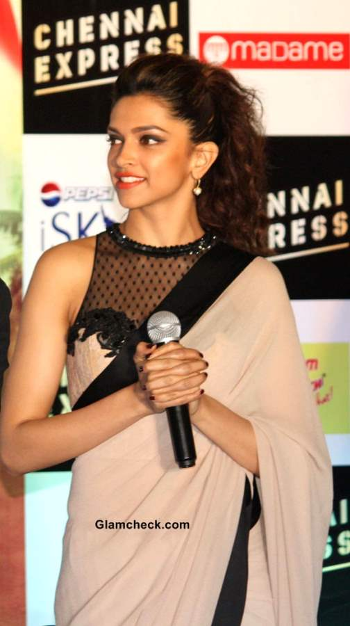 "Deepika Padukone Goes Neutral in Beige Sari at ""Chennai ..."
